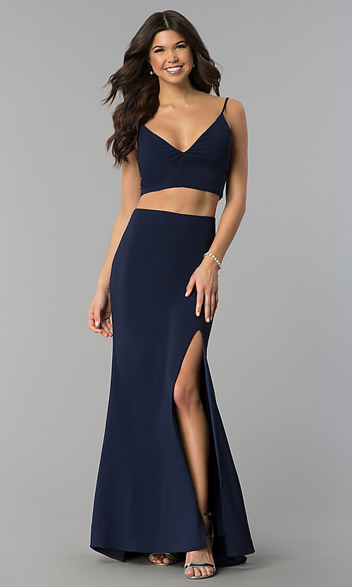 Two-Piece Navy Blue Long Prom Dress with Side Slit