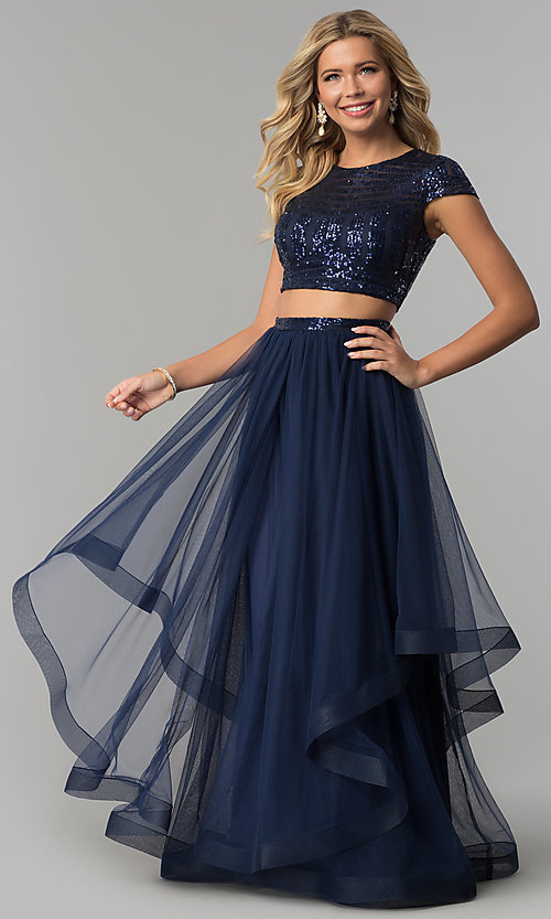 Image of sequin-top tiered two-piece long navy prom dress. Style: FLA-74376 Front Image