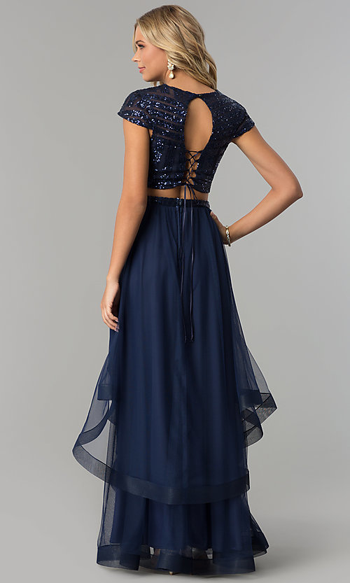 Image of sequin-top tiered two-piece long navy prom dress. Style: FLA-74376 Back Image