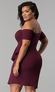 Image of off-the-shoulder mock-wrap plus-size party dress. Style: MB-Mp5033 Back Image