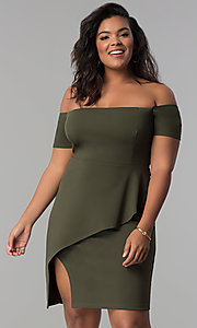 Image of off-the-shoulder mock-wrap plus-size party dress. Style: MB-Mp5033 Front Image
