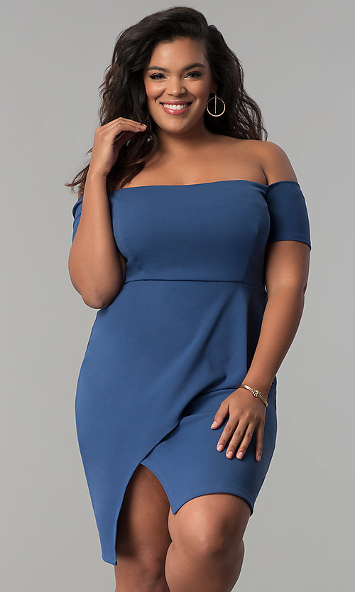 Image of off-the-shoulder mock-wrap plus-size party dress. Style: MB-Mp5033 Detail Image 1