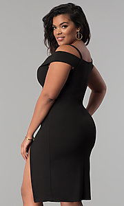Image of off-the-shoulder side-slit plus-size party dress. Style: MB-Mp5015 Back Image