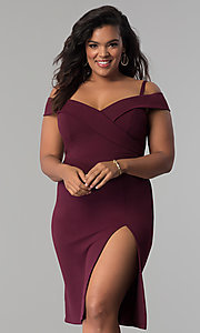 Image of off-the-shoulder side-slit plus-size party dress. Style: MB-Mp5015 Front Image
