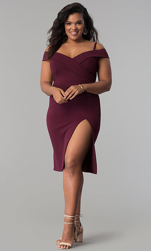 Image of off-the-shoulder side-slit plus-size party dress. Style: MB-Mp5015 Detail Image 1