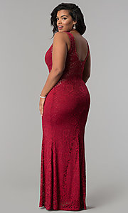 Image of plus-size long lace prom dress with nude accents.  Style: MB-Mp5027 Detail Image 3