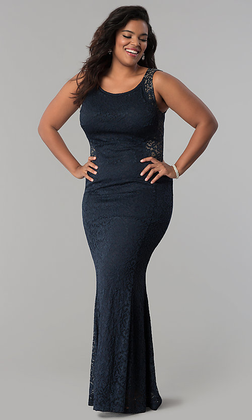 Image of plus-size long lace prom dress with nude accents.  Style: MB-Mp5027 Front Image