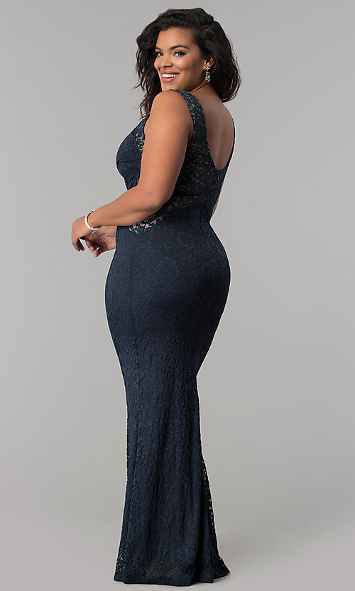Image of plus-size long lace prom dress with nude accents.  Style: MB-Mp5027 Back Image