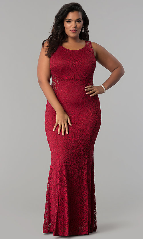 Image of plus-size long lace prom dress with nude accents.  Style: MB-Mp5027 Detail Image 1