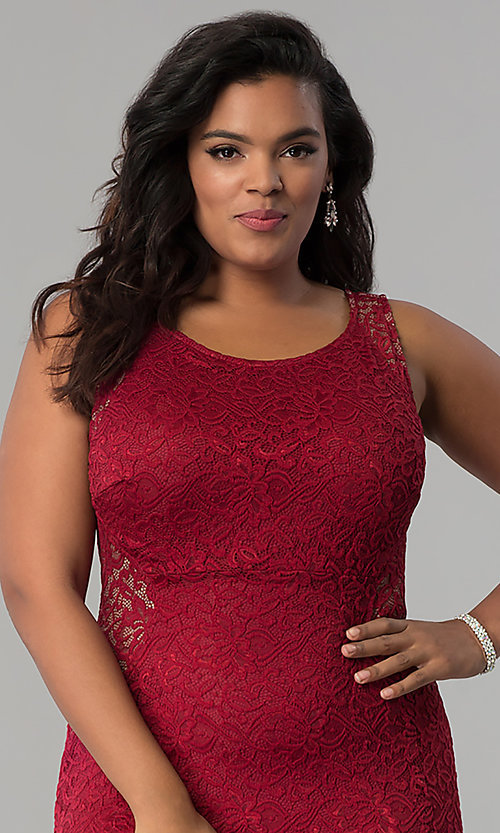 Image of plus-size long lace prom dress with nude accents.  Style: MB-Mp5027 Detail Image 2
