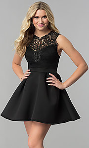 Image of lace-bodice short a-line wedding-guest party dress. Style: DC-D44469 Detail Image 3