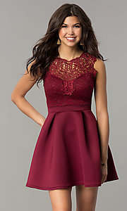 Image of lace-bodice short a-line wedding-guest party dress. Style: DC-D44469 Detail Image 2