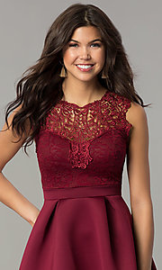Image of lace-bodice short a-line wedding-guest party dress. Style: DC-D44469 Detail Image 1