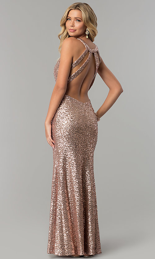 Image Of Open Back Sequined Long Rose Gold Prom Dress Style Mo