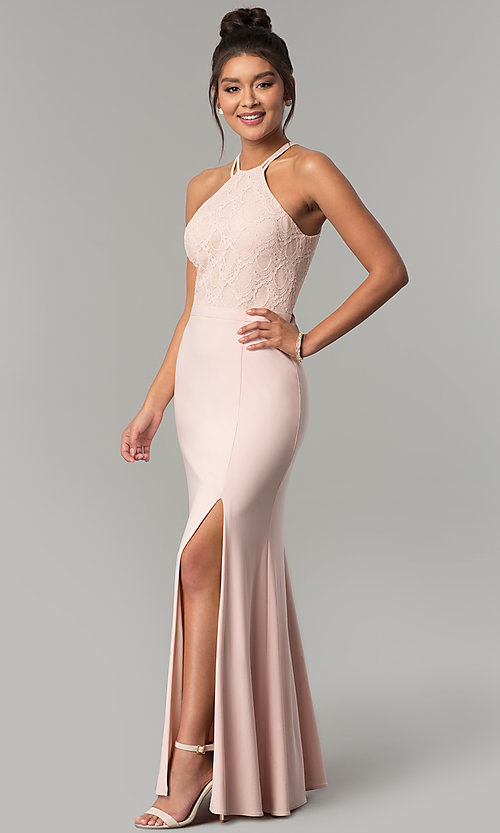 51cb19850c00d3 Image of glitter-lace-bodice long formal dress in blush pink. Style: