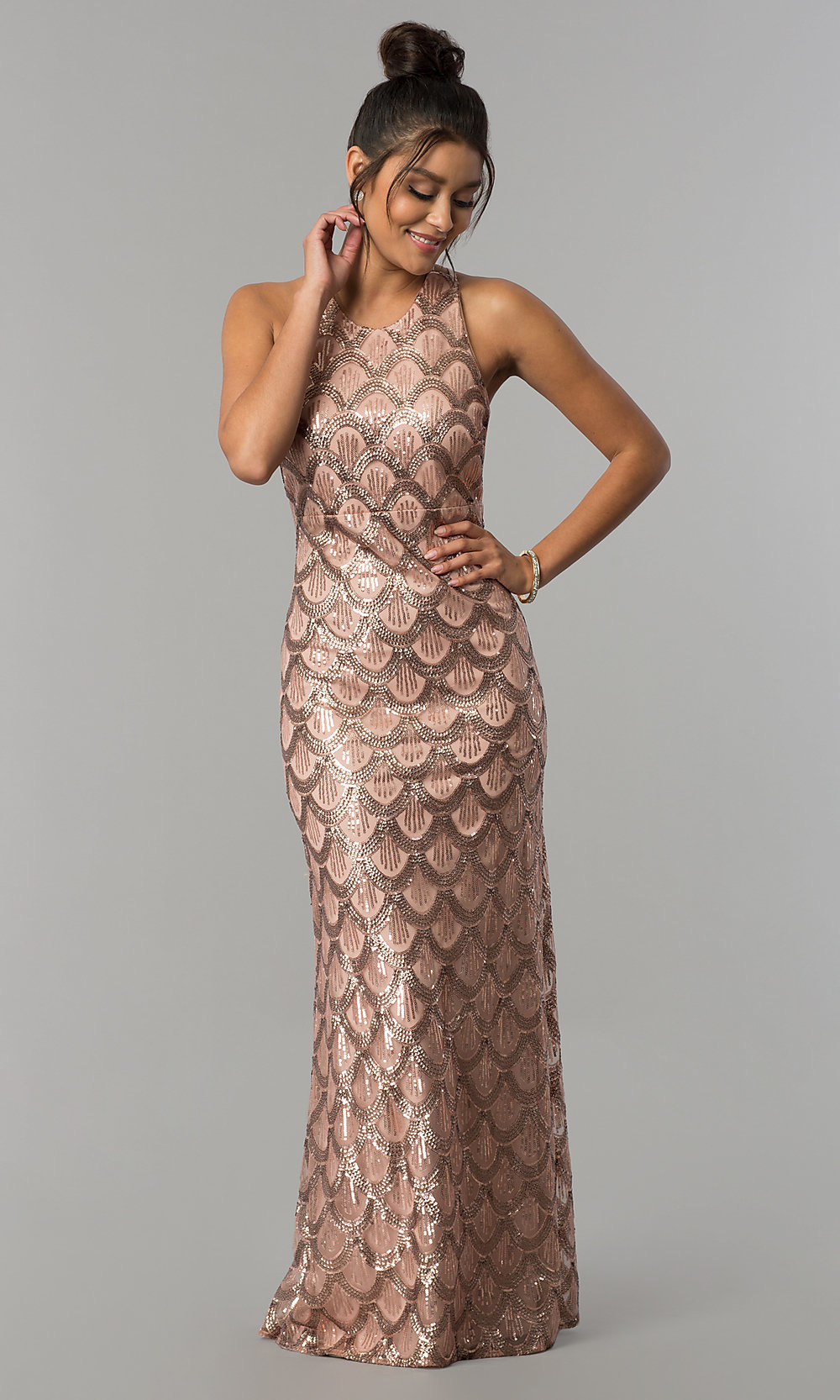 2fa5b68b85 Image of multi-strap open-back long gold sequin prom dress. Style
