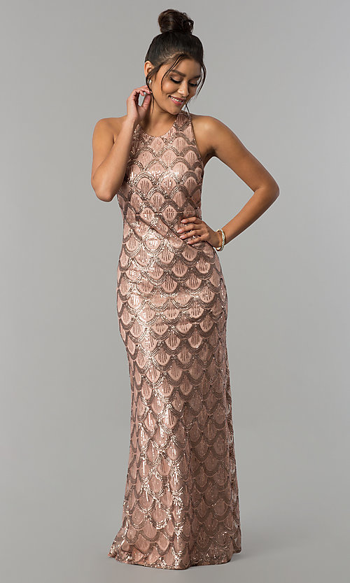 Rose Gold Open-Back Multi-Strap Long Sequin Prom Dress