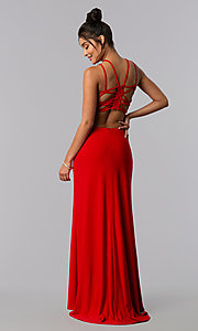 Image of long formal prom dress with strappy open back. Style: MO-12489 Front Image