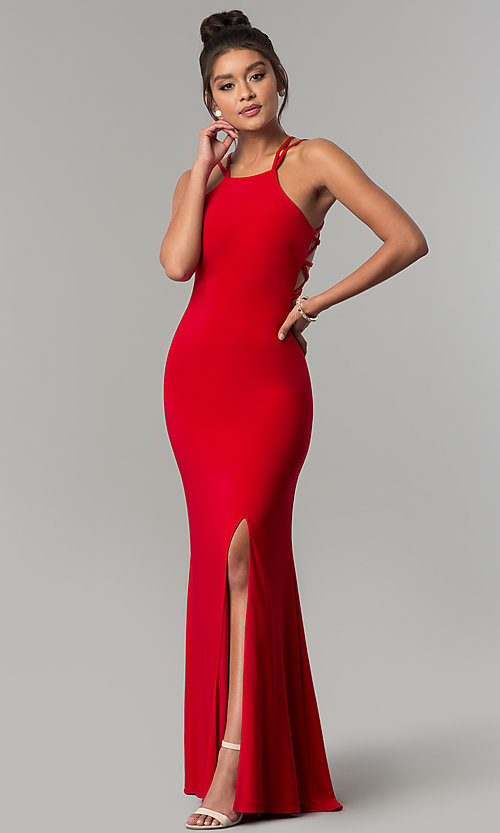 Image of long formal prom dress with strappy open back. Style: MO-12489 Back Image