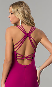 Image of long berry pink open-back prom dress.  Style: MO-12497 Detail Image 2