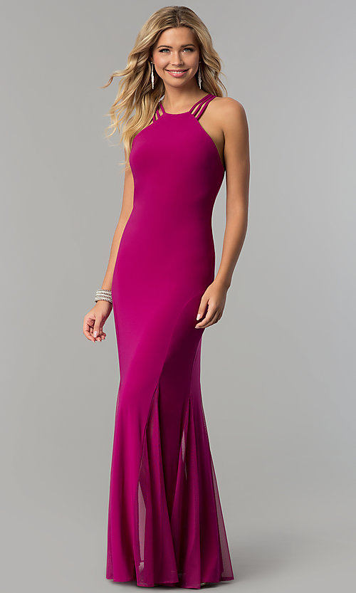 Image of long berry pink open-back prom dress.  Style: MO-12497 Front Image