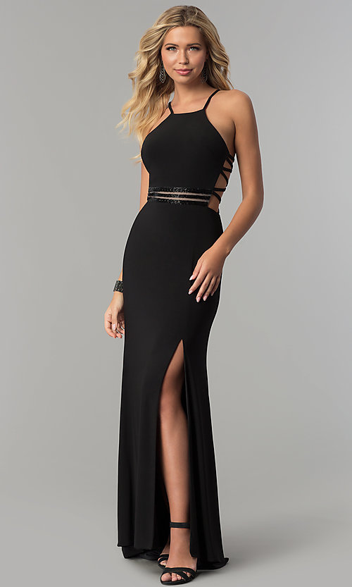 Image of long black caged-back prom dress with slit. Style: MO-12501 Front Image