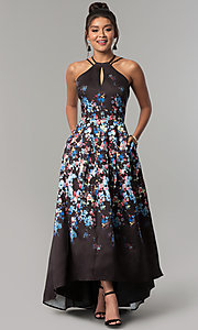 Image of corset open-back high-low floral-print prom dress. Style: MO-12512 Front Image