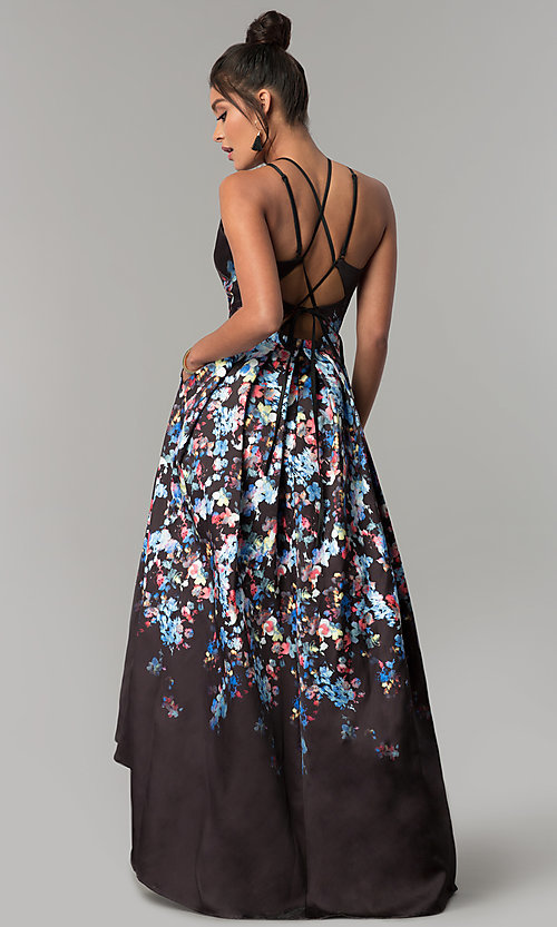 Image of corset open-back high-low floral-print prom dress. Style: MO-12512 Back Image
