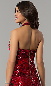 Image of halter sequin-velvet short red holiday party dress. Style: JTM-JMD7957 Detail Image 2