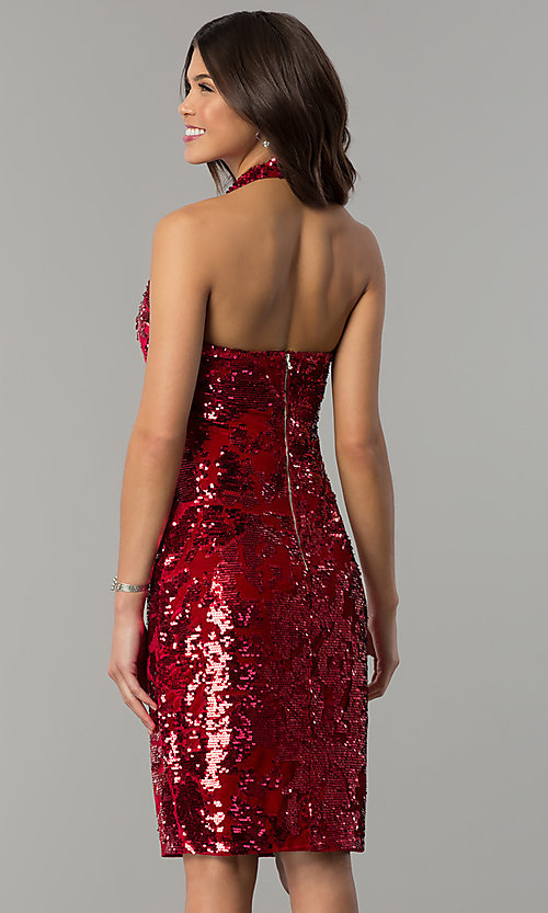 Image of halter sequin-velvet short red holiday party dress. Style: JTM-JMD7957 Back Image