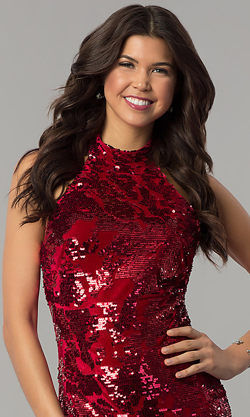 Image of halter sequin-velvet short red holiday party dress. Style: JTM-JMD7957 Detail Image 1