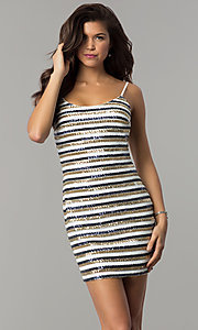 Image of bodycon short sequin-striped holiday party dress. Style: JTM-JMD8046 Front Image