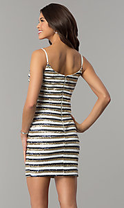 Image of bodycon short sequin-striped holiday party dress. Style: JTM-JMD8046 Back Image