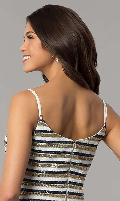 Image of bodycon short sequin-striped holiday party dress. Style: JTM-JMD8046 Detail Image 2