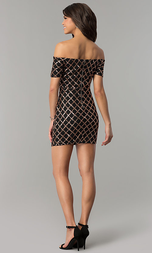 Image of little black holiday mini dress with gold sequins. Style: JTM-JMD8062 Detail Image 3