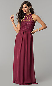 Image of high-neck long lace-bodice burgundy prom dress. Style: SS-X35241H232 Back Image