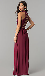 Image of high-neck long lace-bodice burgundy prom dress. Style: SS-X35241H232 Front Image