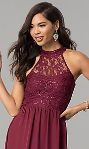 Image of high-neck long lace-bodice burgundy prom dress. Style: SS-X35241H232 Detail Image 1