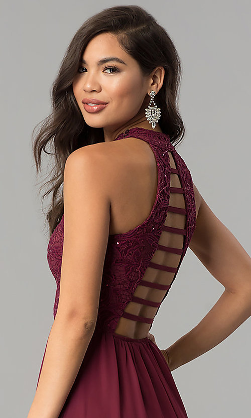 Image of high-neck long lace-bodice burgundy prom dress. Style: SS-X35241H232 Detail Image 2