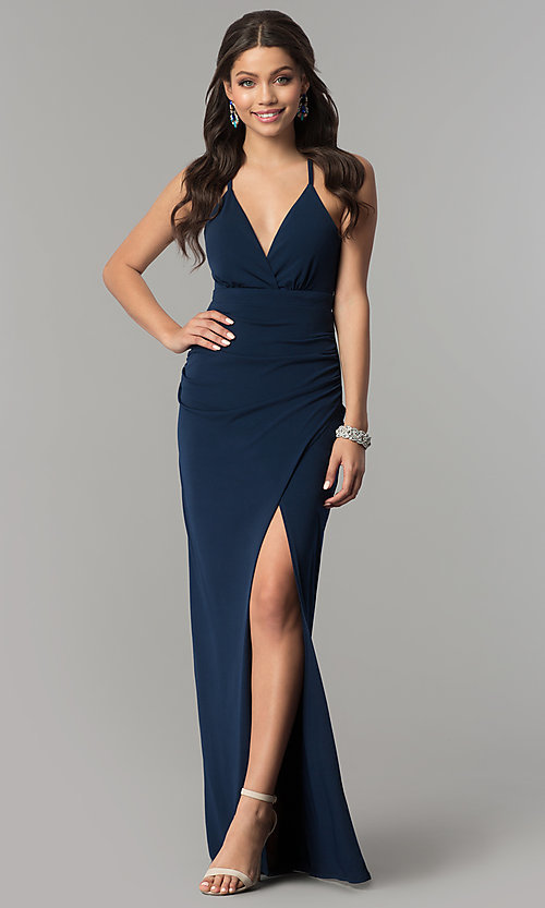 Navy Blue Long Formal Dress With Lace Back