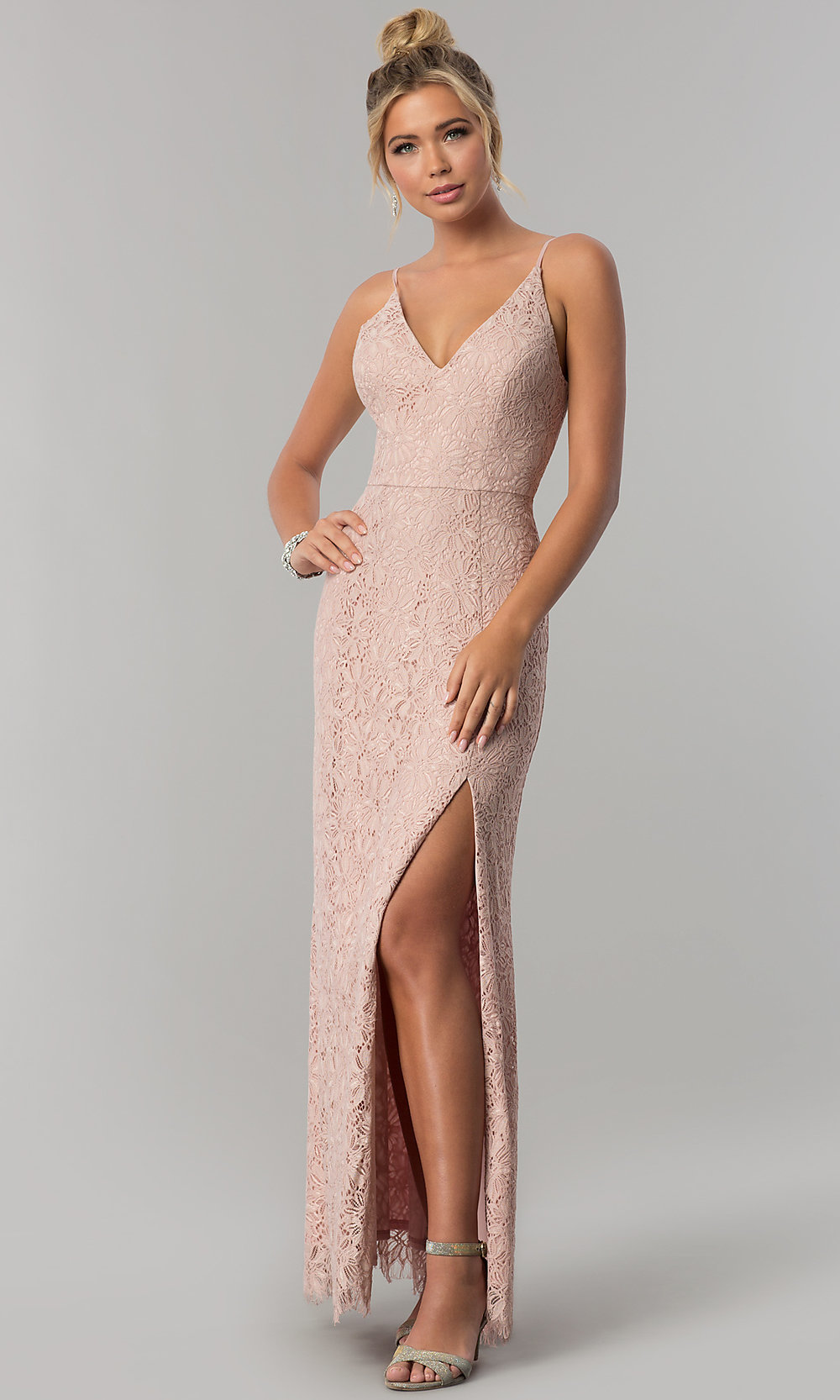 Taupe Long Lace Sheath Prom Dress with V-Neckline