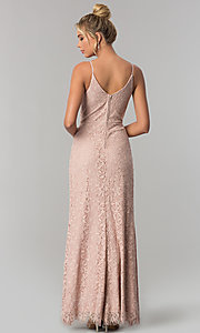 Image of long lace taupe sheath prom dress with v-neckline. Style: SS-X36691H540 Back Image