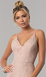 Image of long lace taupe sheath prom dress with v-neckline. Style: SS-X36691H540 Detail Image 1