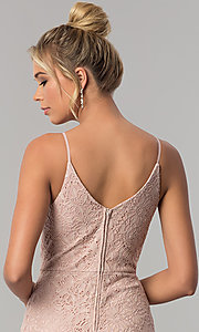 Image of long lace taupe sheath prom dress with v-neckline. Style: SS-X36691H540 Detail Image 2