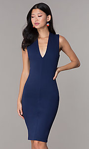 Image of short wedding-guest party dress with low v-neck. Style: TOP-D5011 Detail Image 3