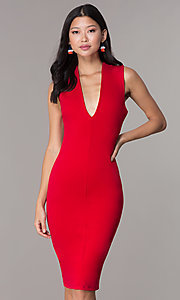 Image of short wedding-guest party dress with low v-neck. Style: TOP-D5011 Detail Image 4