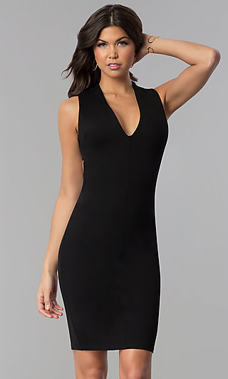 Short Wedding-Guest Party Dress with Low V-Neck