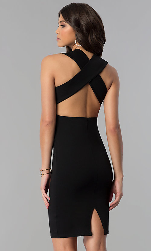 Image of short wedding-guest party dress with low v-neck. Style: TOP-D5011 Back Image