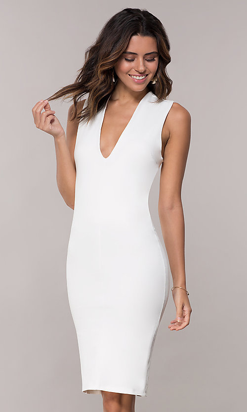 Image of short wedding-guest party dress with low v-neck. Style: TOP-D5011 Detail Image 2