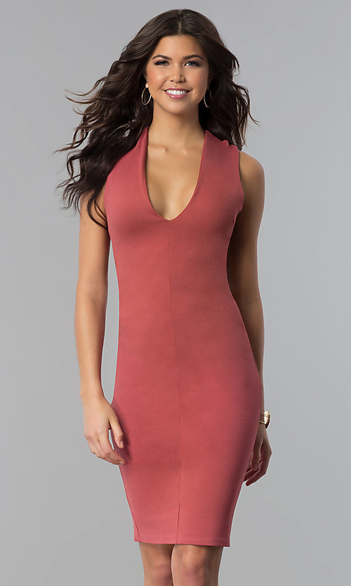 Image of short wedding-guest party dress with low v-neck. Style: TOP-D5011 Detail Image 1